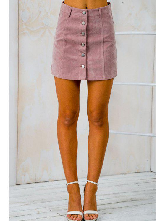 buy Faux Suede High Waist Solid Color Skirt - PINK S