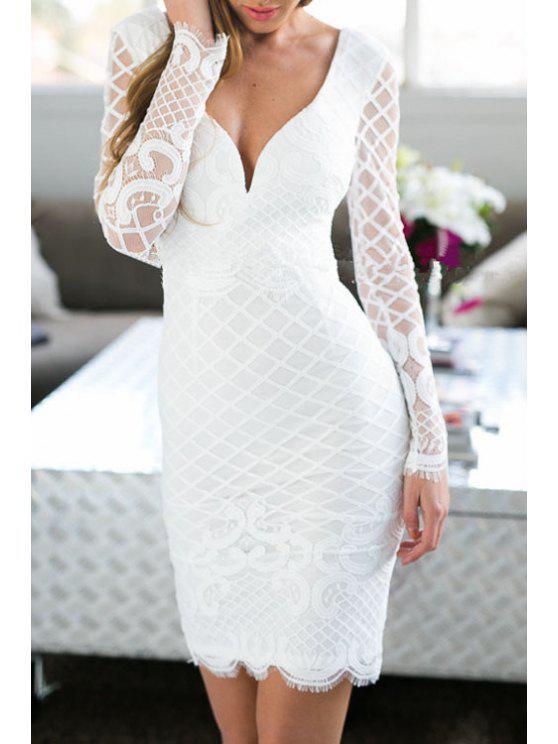 fashion White Long Sleeves Bodycon Dress - WHITE S