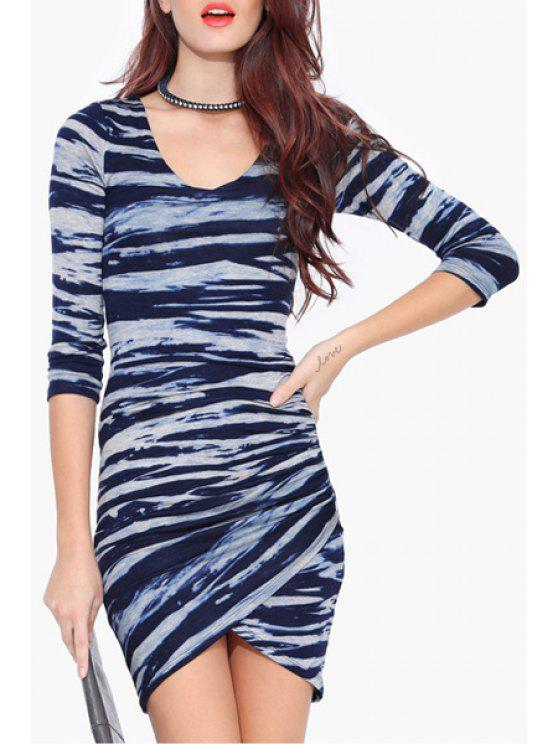 best Ruched Mixed Color Bodycon Dress - BLUE L