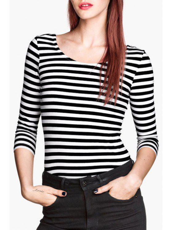 hot 3/4 Sleeve Striped T-Shirt - WHITE AND BLACK XS