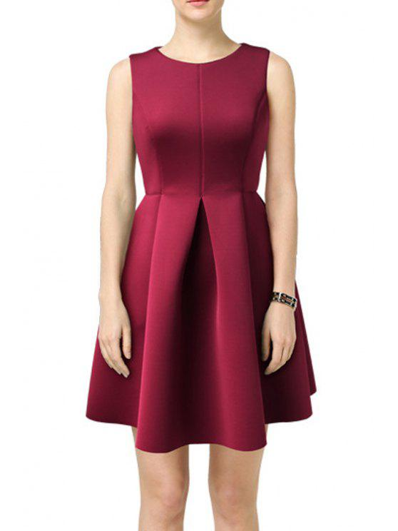 chic Solid Color Pleated Round Collar Sleeveless Dress - WINE RED S