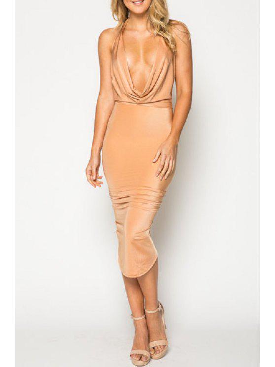 women's Solid Color Halterneck Bodycon Dress - APRICOT XL