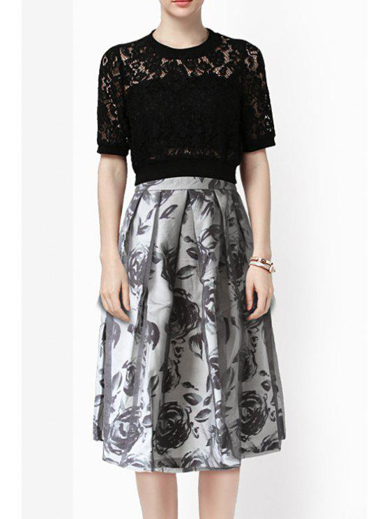 women's Pleated Floral Print High Waisted A-Line Skirt - GRAY S