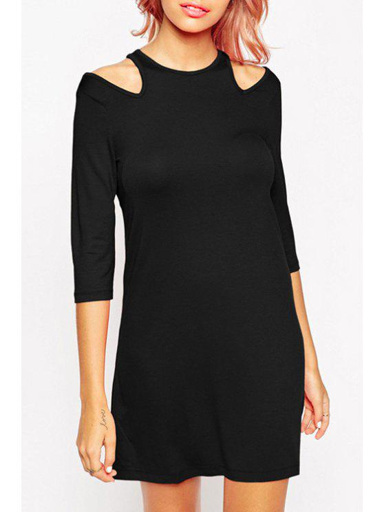 chic Casual Cut Out Solid Color Dress - BLACK XS