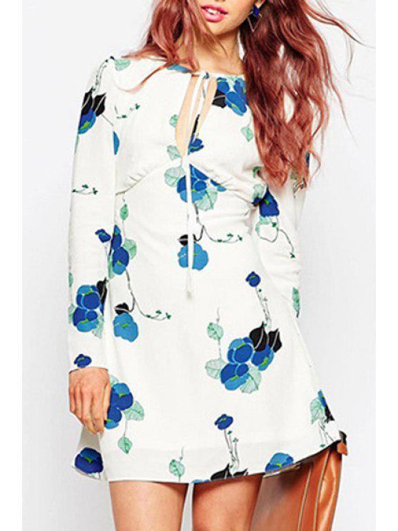 online Plunging Neck Long Sleeve Floral Dress - WHITE XL