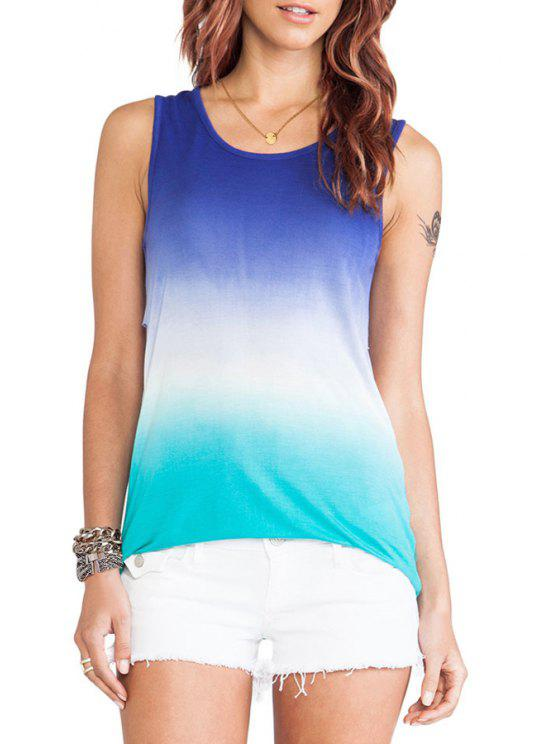 women's Ombre Color Jewel Neck Backless Tank Top - COLORMIX S