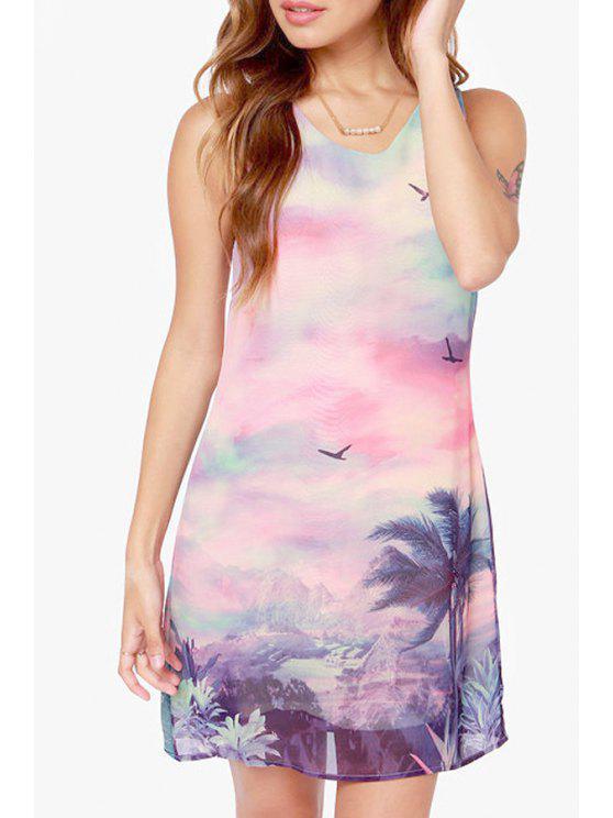 fancy Scenery Print Scoop Neck Sleeveless Dress - COLORMIX S