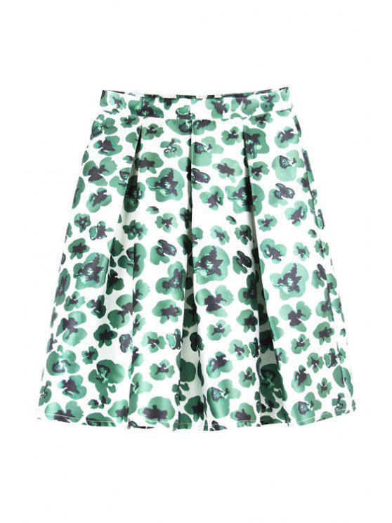 fancy Floral Print High Waisted Pleated A-Line Skirt - GREEN S