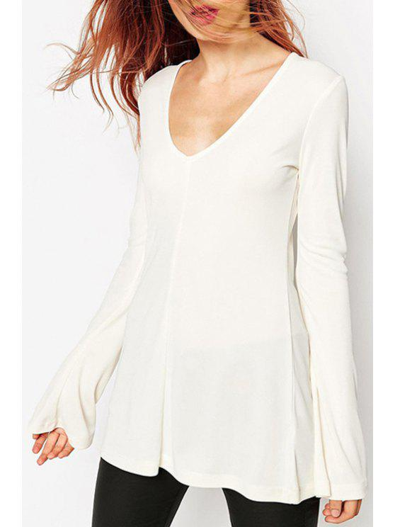 lady Bell Sleeve A-Line White T-Shirt - WHITE XS