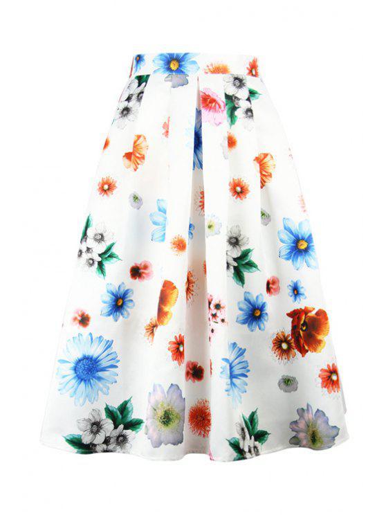 buy High Waisted Flower Print Pleated A-Line Skirt - WHITE S