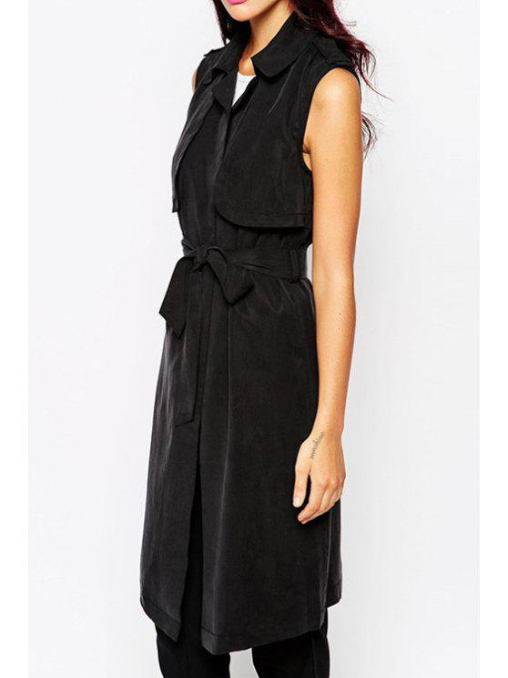 online Black Self-Tie Belt Waistcoat - BLACK XS