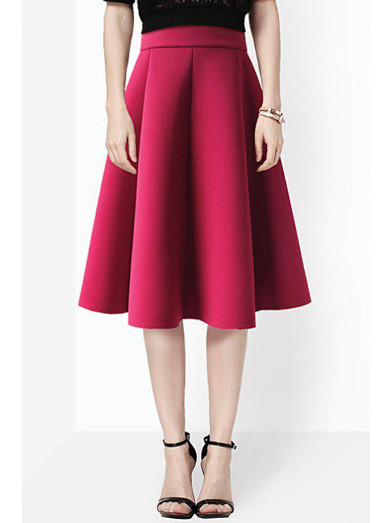 ladies Solid Color High Waisted Pleated A-Line Skirt - WINE RED S