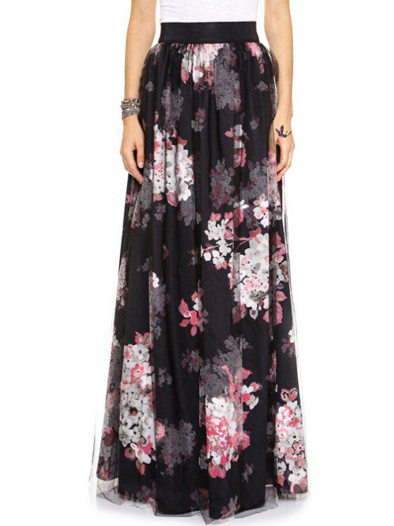 lady Full Flower Print High Waist Skirt - BLACK S