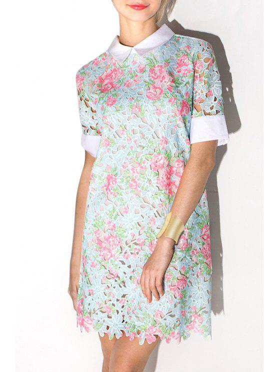 women's Crochet Flower Openwork Lace Dress - LIGHT BLUE M
