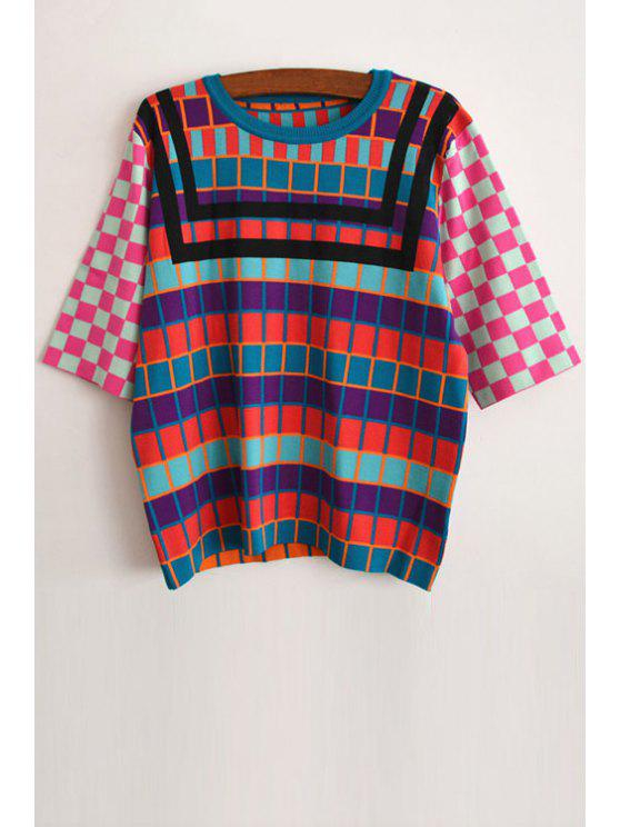 trendy Colored Checked Half Sleeve Jumper - AS THE PICTURE XS