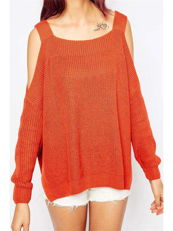 trendy Long Sleeve Off-The-Shoulder Sweater - ORANGE RED ONE SIZE(FIT SIZE XS TO M)