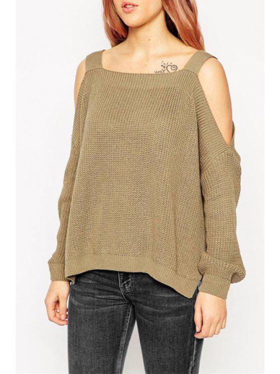 Long Sleeve Off-The-Shoulder Sweater - Kaffee Einheitsgröße(Geeign