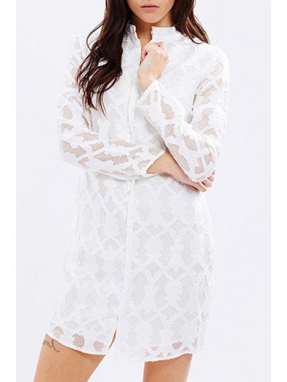 outfit Openwork Lace Hook Solid Color Long Sleeves Shirt Dress - WHITE XS