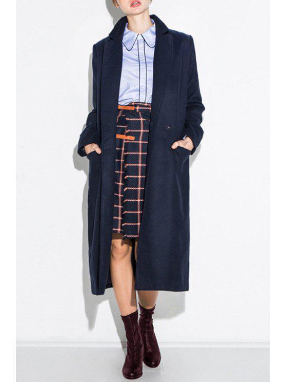 online Solid Color Pockets Long Lapel Collar Coat - NAVY BLUE XS