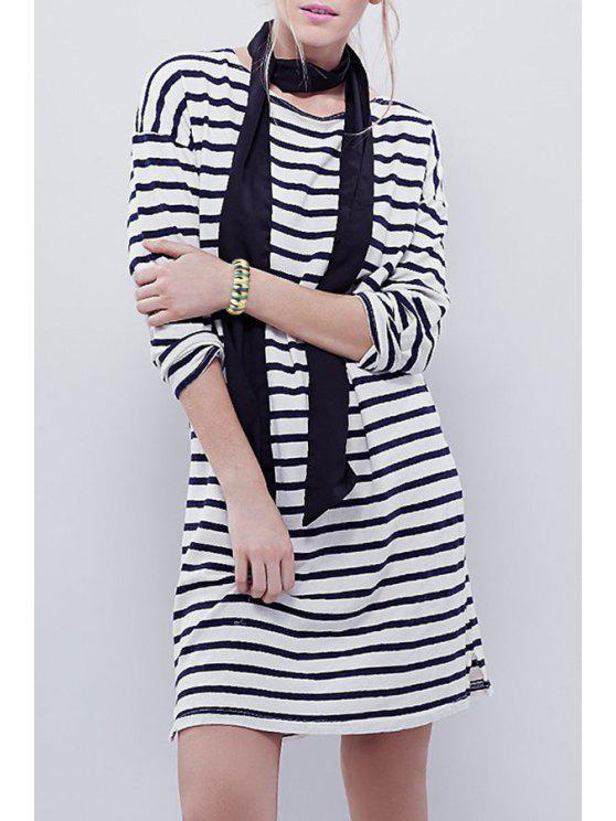 buy Striped Jewel Neck Long Sleeves Dress - WHITE AND BLACK S