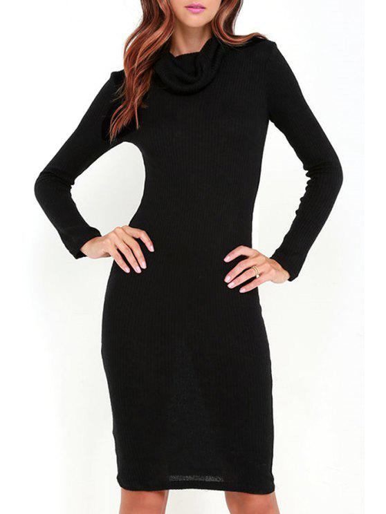 new Black Heaps Collar Long Sleeve Sweater Dress - BLACK S