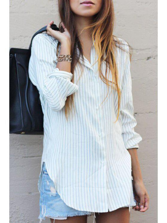 lady Long Sleeve Striped Loose Shirt - WHITE S
