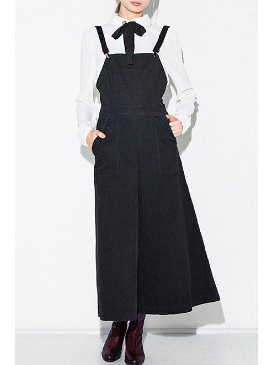 lady High Waisted Solid Color Palazzo Overalls - BLACK XS