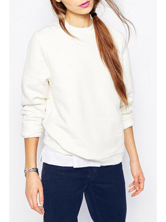 best White Round Neck Pullover Sweatshirt - WHITE S