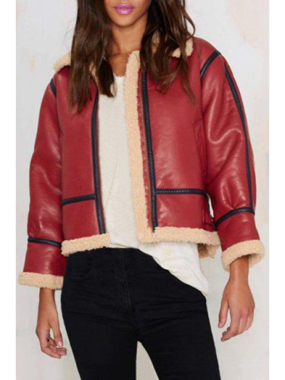 shops Fleece Lining PU Leather Jacket - RED S