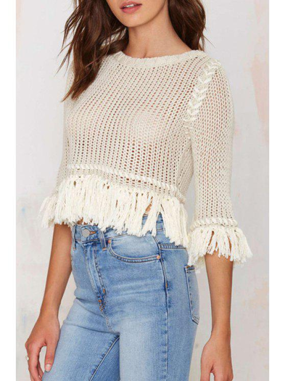 new Hollow Out Solid Color Fringes Short Half Sleeves Sweater - WHITE XL