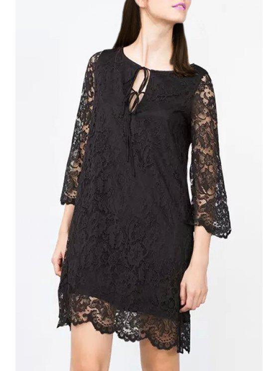 lady Openwork Lace Hook 3/4 Sleeve Dress - BLACK S