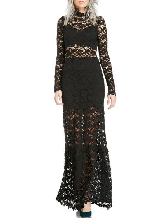 sale Long Sleeves Openwork Lace Hook Spliced Fishtail Maxi Dress - BLACK XS