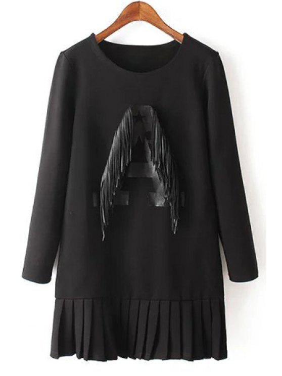unique Letter A Pattern Fringed Dress - BLACK M