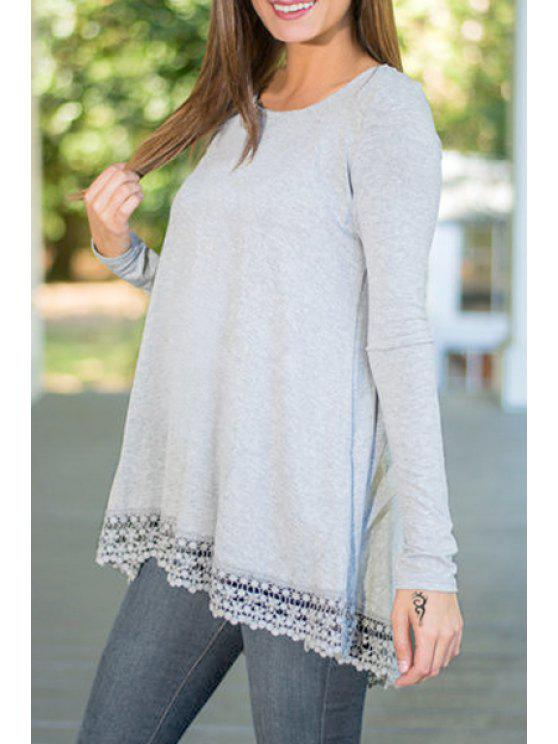 chic Lacework Spliced Long Sleeve T-Shirt - GRAY S