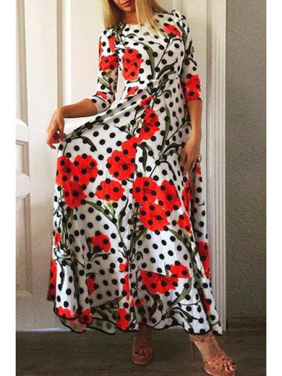 shop Polka Dot 3/4 Sleeve Maxi Dress - WHITE S