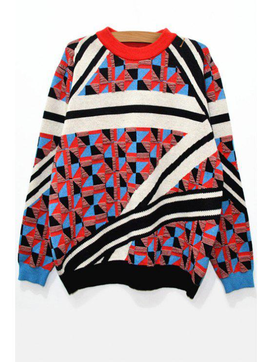 women's Long Sleeve Colorful Jacquard Jumper - COLORMIX XS