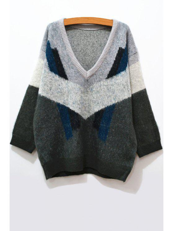 outfit Batwing Sleeve Color Block Sweater - GRAY XS
