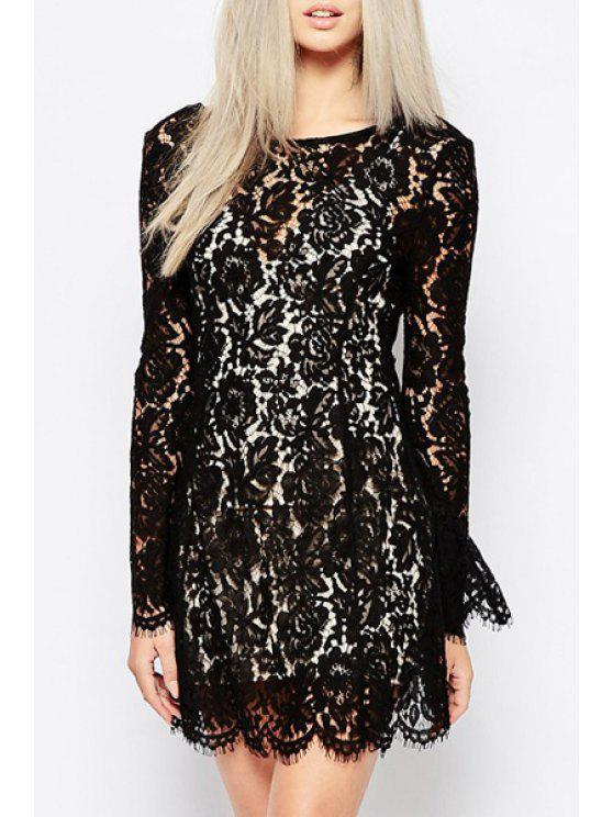 chic Openwork Lace Hook Backless Dress and Spaghetti Twinset - BLACK XS