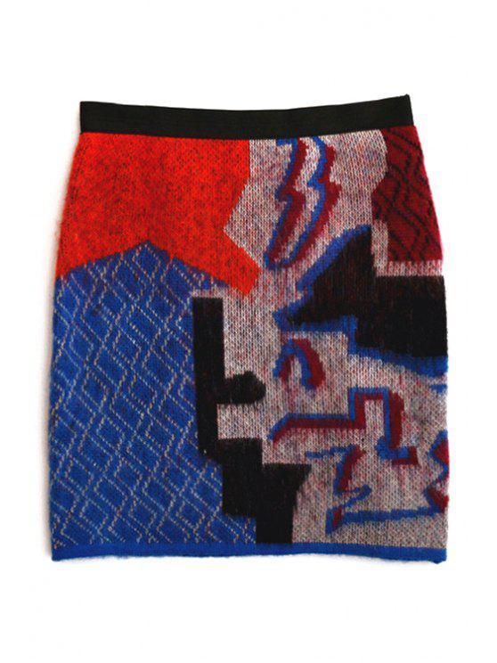 hot Abstract Pattern Jacquard Knit Skirt - BLUE XS