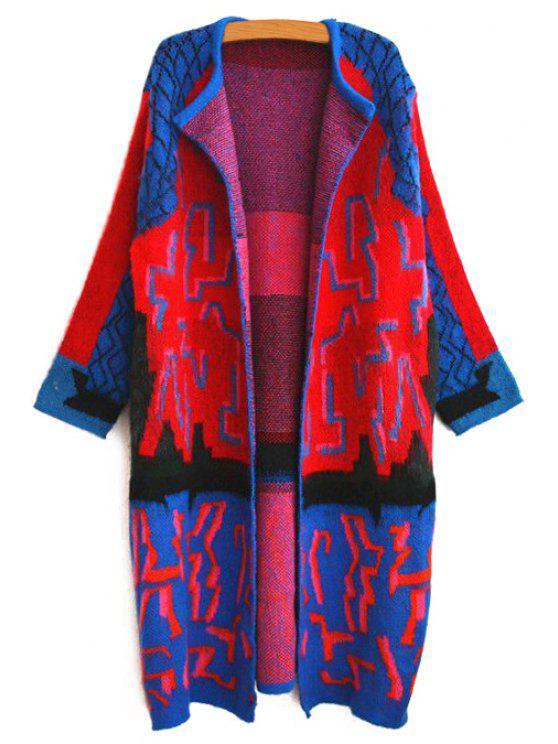 women Jacquard Longline Cardigan - BLUE S