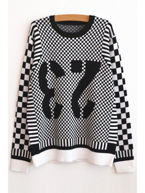 new Plaid Inverted Number Pattern Sweater - WHITE AND BLACK XS