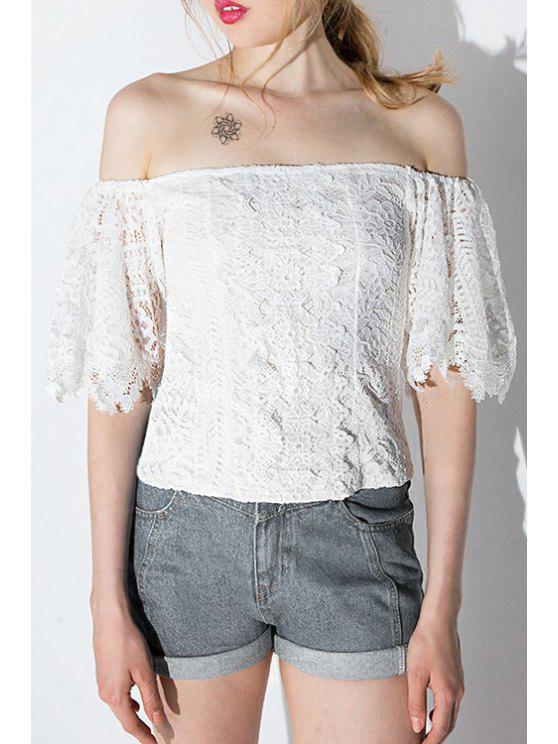 latest Solid Color Openwork Lace Hook Off-The-Shoulder Blouse - WHITE XS