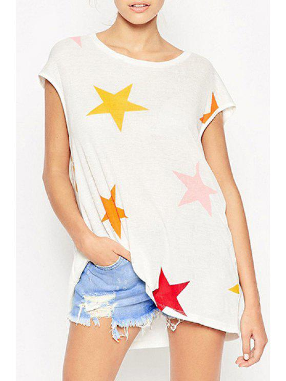 women's Colorful Star Print Round Neck Short Sleeevs T-Shirt - WHITE XS
