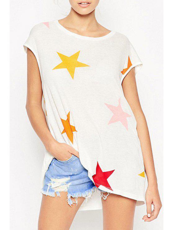 women's Colorful Star Print Round Neck Short Sleeevs T-Shirt - WHITE XS