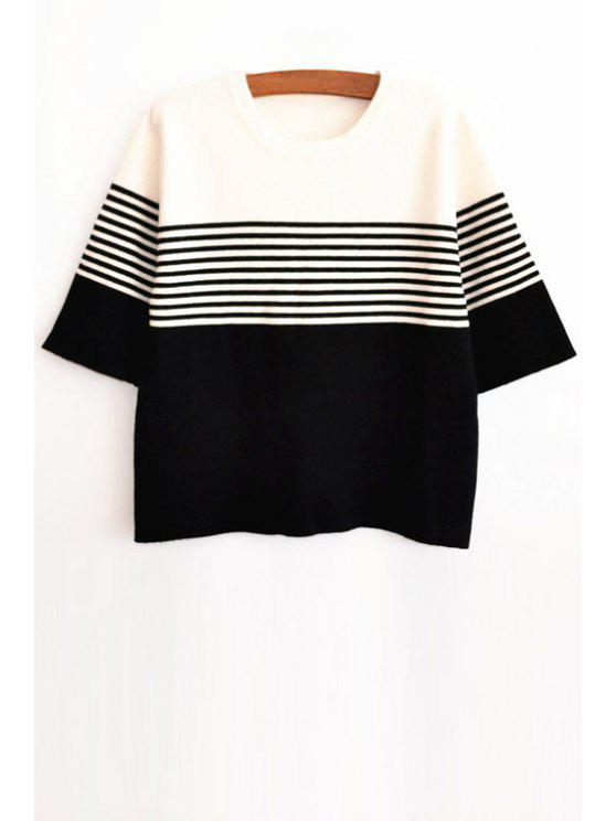 hot Stripe Spliced Half Sleeve Jumper - WHITE AND BLACK XS