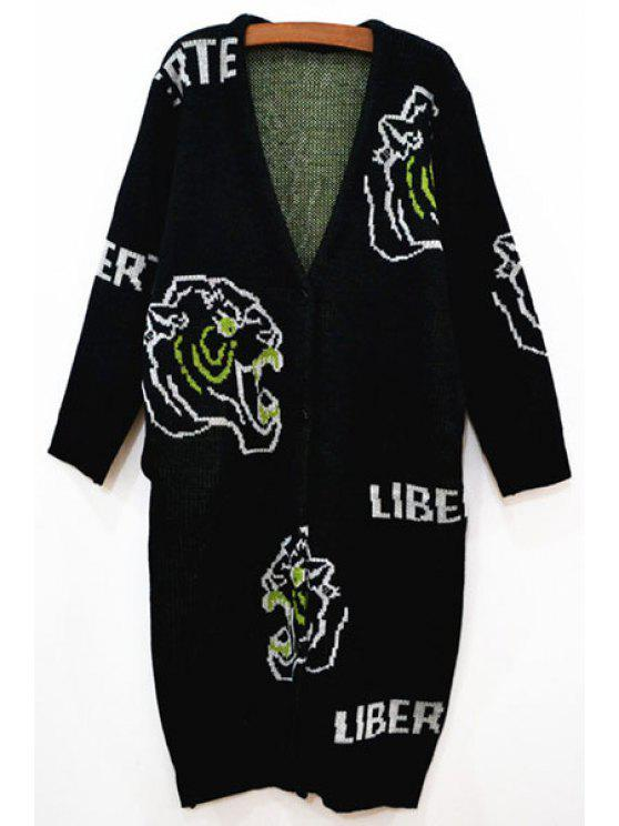 shop Tiger Pattern V Neck Long Sleeve Cardigan - BLACK XS