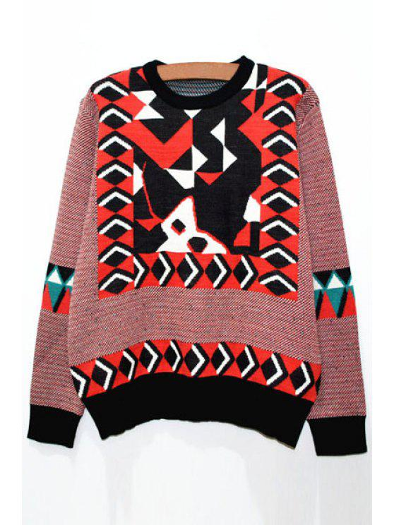 fashion Long Sleeves Geometric Pattern Round Neck Jumper - RED XS