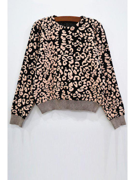 buy Leopard Round Neck Long Sleeve Jumper - BLACK XS