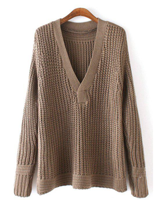 online V-Neck Pure Color Sweater - COFFEE ONE SIZE(FIT SIZE XS TO M)