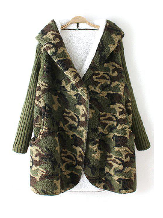 unique Hooded Fleece Camo Coat - GREEN ONE SIZE(FIT SIZE XS TO M)